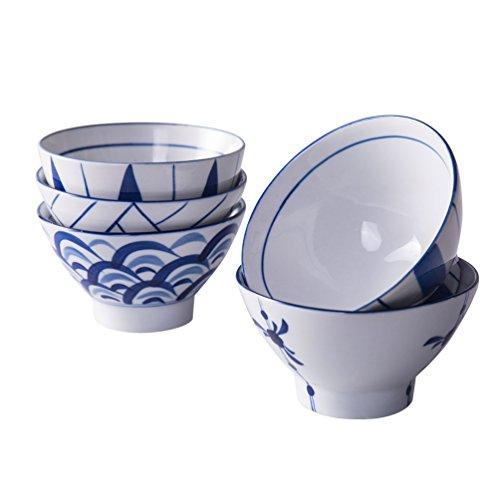 Baoyouni Lot de 5 bols à soupe en porcelaine pour fromage, fruits, crackers, salades - Bleu et blanc