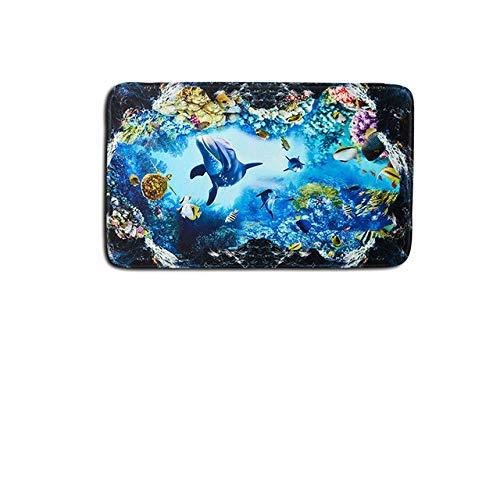 MYSdd Accesorios de Inodoro Dolphin Juego de alfombras de baño de 3 Piezas Alfombrillas de baño 3D Alfombra Antideslizante Bathmate Alfombra para decoración del hogar 45 * 75cm - PM