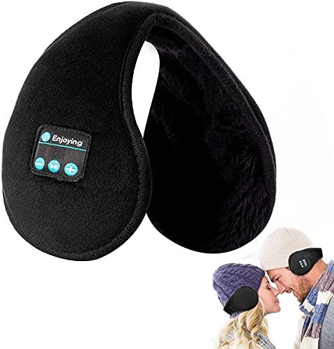 Ohrenschützer Kopfhörer Bluetooth - Navly Faltbare Ohrwärmer,Bluetooth V5.0 Kabellos Musik Over-Ear Headsets mit Mikrofon,Warme Gemütlich Vlies Ohrenschützer Winter Damen Herren Kinder(Schwarz)