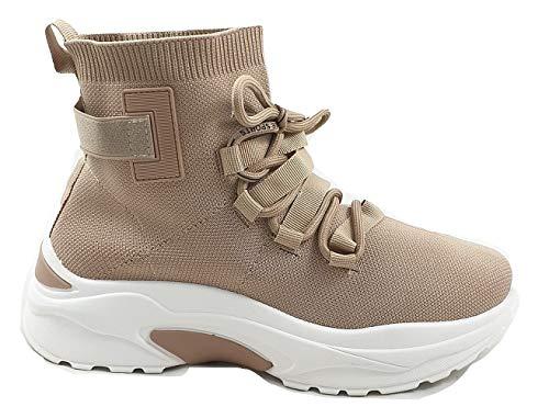 Timbos Zapatos - 122966 Deportivo Botín para Mujer, Color Kaki, Material Textil Elástico, Cierre Cordones, Colección Invierno