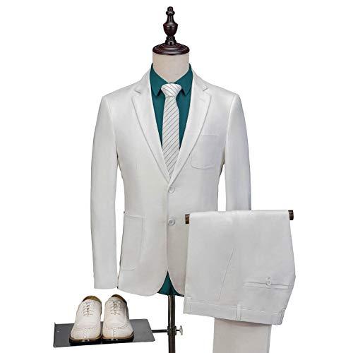 Mens 3 Piece Cotton Linen Suit Set Blazer Jacket Tux Vest Suit Pants White