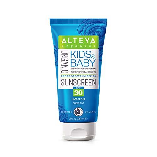 Alteya Bio Sonnencreme Kinder und Babys 90ml – NaTrue Organic-zertifiziert, 95% biozertifizierte Inhaltsstoffe Extra Sicher Rein Natürlich Biosonnenschutz