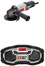 PORTER-CABLE PCEG011 6 AMP 4-1/2 IN. ANGLE GRINDER with PORTER-CABLE PCC771B Bluetooth Radio
