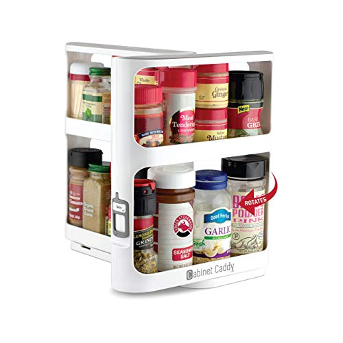 Cabinet Caddy (White)   Pull-and-Rotate Spice Rack Organizer   2 Double-Decker Shelves   Modular Design   Non-Skid Base   Stores Prescriptions, Essential Oils   10.8'H x 5.25'W x 10.8'D