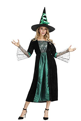 Zhitunemi Gothic Witch Costume for Women Sorceress Dress Spider Wicked Witch Hat Dress Up Costumes - http://coolthings.us