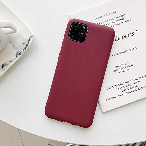 RSB Telefoonhoes voor iPhone 11 Eenvoudig mooie solide kleur soft-siliconen voor iPhone 11 case (kleur: Red Wine, materiaal: voor iPhone 11)