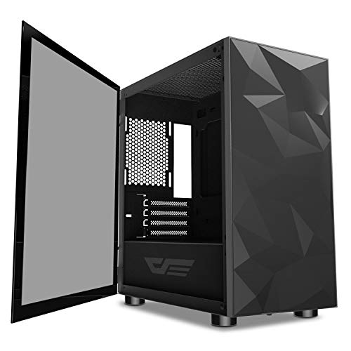darkFlash Micro ATX Mini ITX Tower MicroATX Computer Case with Magnetic Design Wide Open Door Opening Swing Type Tempered Glass Side Panel (DLM21 Black)