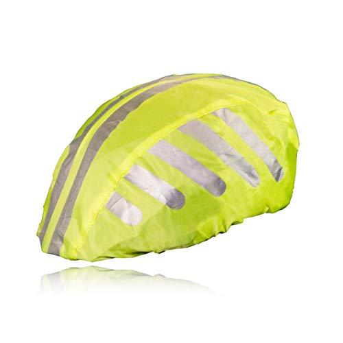 HINRI Reißfeste Fahrradhelm Abdeckung | 100% wasserdicht, mit Reflektoren | Elastische Regenkappe - Für jeden Helm geeignet (Gelb)