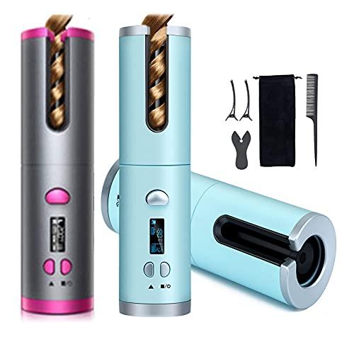 Automatischer Lockenstab,Auto Multifunktionaler Kabellos Lockenwickler mit LCD Temperaturanzeige & Timer, 6 Einstellbare Temperatur, Schnell Erhitzender Wiederaufladbarer USB-Lockenstäbe