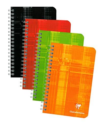 Clairefontaine Wirebound Notitieboekjes, 11 x 17 cm, gevoerd, 90 g, 90 vellen - Verschillende kleuren, 10 stuks
