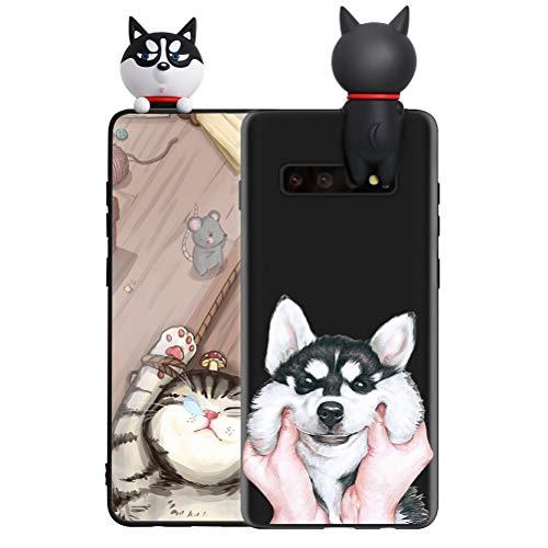 ZhuoFan Funda para Samsung Galaxy J4 Plus, Cárcasa Silicona 3D Muñecas con Dibujos Colores Diseño Suave Gel TPU Antigolpes de Protector Case Cover Fundas Movil para Galaxy J4 Plus, Perro 4
