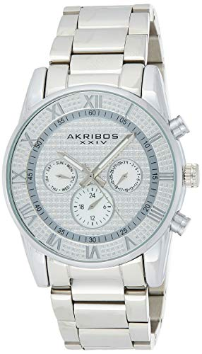 Akribos XXIV Men's Swiss Quartz Crystal Pave Dial with Mother-of-Pearl Multi-Function Sub dials on Silver-Tone Stainless Steel Bracelet Watch AK939SS
