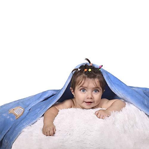 Just to you Couverture brodée bébé Nouveau-né Couverture Douce et Chaude pour lit de bébé Pram Moses (Bleu)