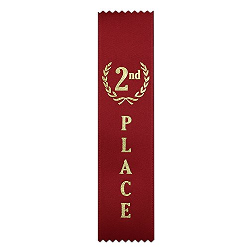 2nd Place (Red) Quality Award Ribbons - 50 Count Metallic Gold foil Print – Made in The USA