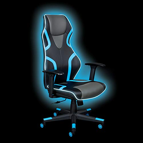 OSP Home Furnishings Rogue High-Back LED Lit Gaming Chair, Black Faux Leather With Blue Trim and Accents
