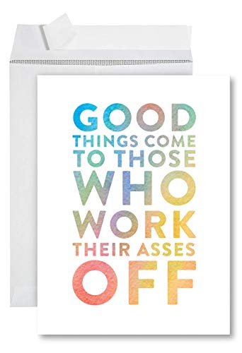 Funny Jumbo Graduation Card With Envelope 8.5 x 11 inch, Big Greeting Card, Work Their Asses Off