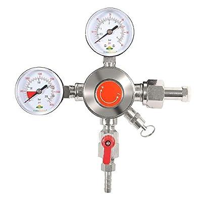 TerraBloom CO2 Keg Pressure Regulator for Draft Beer Kegerators. Dual Gauge Heavy Duty Unit with CGA-320 Inlet, 0-50 PSI Working Pressure, 0-3000 PSI Tank Pressure with Safety Pressure Relief Valve by TerraBloom