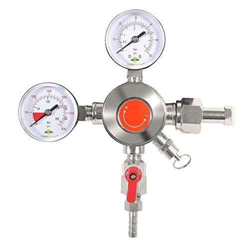 TerraBloom CO2 Keg Pressure Regulator for Draft Beer Kegerators. Dual Gauge Heavy Duty Unit with CGA-320 inlet, 0-50 PSI Working Pressure, 0-3000 PSI Tank Pressure with Safety Pressure Relief Valve