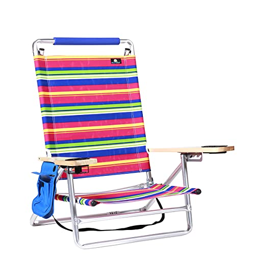 Deluxe 5 Reclining Pos Lay Flat Aluminum Beach Chair for Sand with Cup Holder, Lightweight Folding, 250 lb Load Capacity