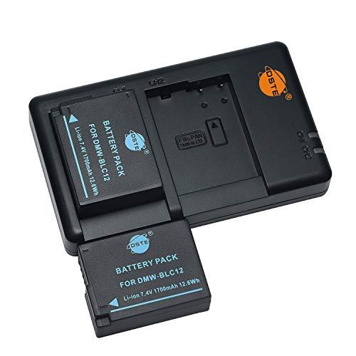 DMW-BLC12 BLC12E - Batería recargable y cargador dual compatible con Panasonic BP-DC12, Sigma BP-51, V-LUX4, DMC GX8, G85, G7, FZ2000, FZ2500, FZ1000, FZ200, FZ300, Leica Q, etc.