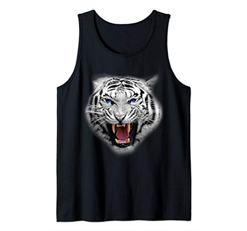 Awesome White Tiger Big Face Gift Funny Big Cat Design Tank Top