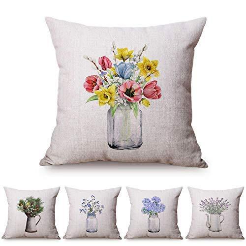 Funda de cojín de 5 piezas para sofá, funda de almohada de lino, colorida, florero nórdico, frasco de cristal, para decoración del hogar, pequeño, fresco, 45 x 45 cm