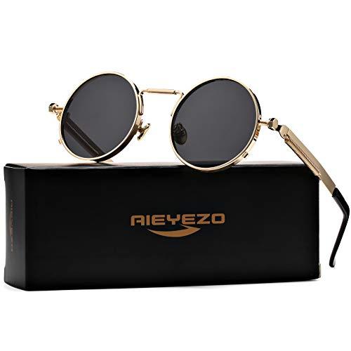 John Lennon Glasses Round Steampunk Sunglasses Gothic Metal Frame 100% UV Blocking Lens (Gold/Grey)