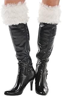 Black Santa Plush Fabric Boot Cuffs, 1 pair | Party Costume