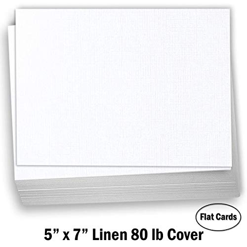 Hamilco 5x7 White Linen Cardstock Paper Blank Index Cards Card Stock 80lb Cover – 50 Pack