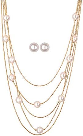 Jones New York White Pearls Multistand Gold Long Necklace Set with Pearl Earrings product image