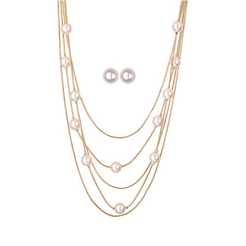 Jones New York White Pearls Multistand Gold Long Necklace Set with Pearl Earrings