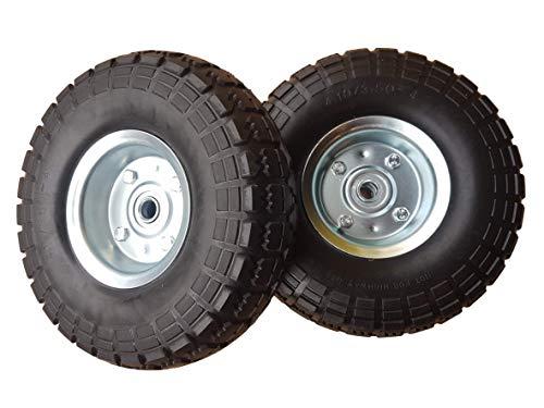 2 x Frosal PU Rad Bollerwagen Ø 260 mm 4.10/3.50-4 | Ersatzrad Reifen Sackkarre | Achse 16 mm | Pannensicher mit Kugellager | Stahlfelge silber