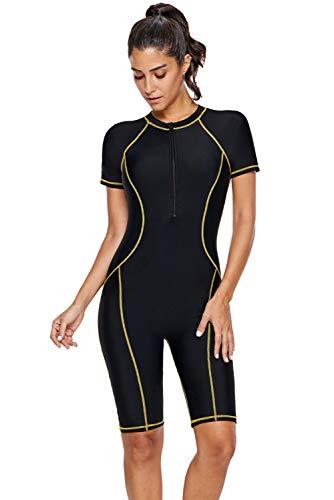 SailBee Women's One Piece Short Sleeves Contoured Zip Front Wetsuit Swimsuit (410893 XXL, Yellow Seam)