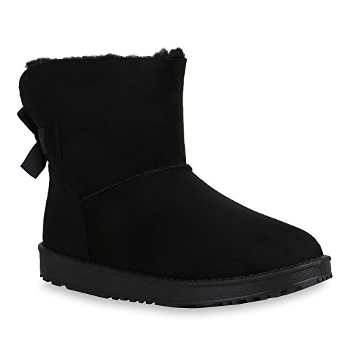Damen Schuhe Stiefeletten Stiefel Schlupfstiefel Warm Gefüttert 152062 Schwarz Arriate 41 Flandell