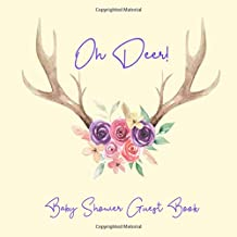 Baby Shower Guest Book Oh Deer!: Antlers Floral Boho Rustic Purple Pink Theme, Welcome Baby Girl Sign in Guestbook Memory Keepsake with predictions, ... parents, wishes, gift log, address & photo