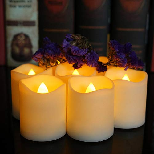 LedBack 12PCS Flameless Flickering Votive Tea Lights Candles with Timer(6Hrs ON 18Hrs OFF Per Cycle), Long Life CR2450 Battery Operated LED Candles for Garden Wedding,Christmas Decorations-Warm White