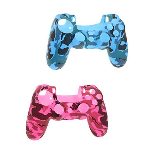 Shiwaki 2er Pack Anti Rutsch Silikonhülle Hülle Für PS4 Gamepad Grip Rose + Blau