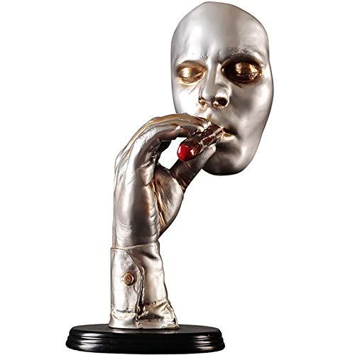 WACYDSD Harz Statuen Und Skulpturen, Moderne Minimalistische Abstrakte Skulptur Handwerk Ornament, Mann Gesicht Kunst Figuren Carving Statue Skulptur Hand Wohnzimmer Büro...