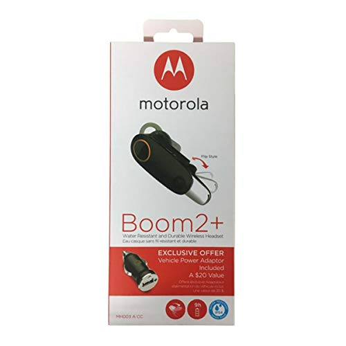 "motorola Boom 2+""HD Flip Bluetooth - Water Resistant Durable Wireless Headset W/Car Charger, (US Retail Packing, Black (Boom 2+ with CLA)"