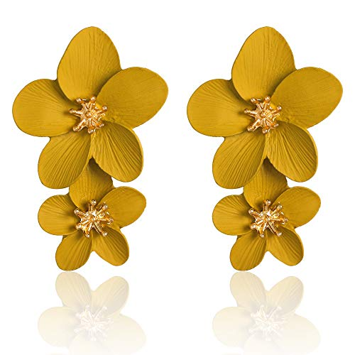 Large Flower Earrings for Women - Metal Flower Earrings, Chic Flower Statement Earrings, Great for Party, Wedding, Shopping, Dating (yellow flower earrings)