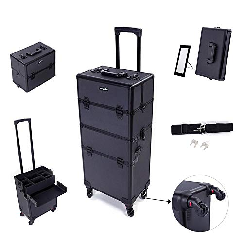 Mefeir 2-in-1 Rolling Makeup Train Case Lift Handle,4 Removable Wheels+W/Extra Bottom Lid+Shoulder Strap+Mirror,Lockable Travel Cosmetic Trolley Cart Artist Beauty Salon Organizer