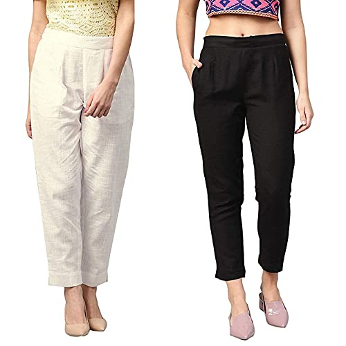 AGASTI Women's Regular Fit Casual Trousers | Combo Set | Front Pleated |