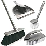 Home Cleaning Kit Indoor Broom and Dustpan Set with Dish & Scrubbing Brush