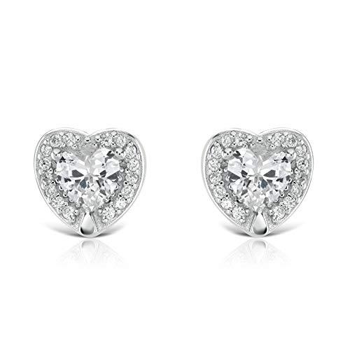 Isabella Silver LONDON Designer Jewellery 925 Sterling Silver Heart CZ Stud Earrings (Halo Set)