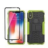 Yiakeng Funda Apple iPhone X/XS Carcasa y Vidrio Templado Protector Pantalla, Silicona a Prueba de Choques Protector con Kickstand para Apple iPhone X/XS-5.8' (Verde)