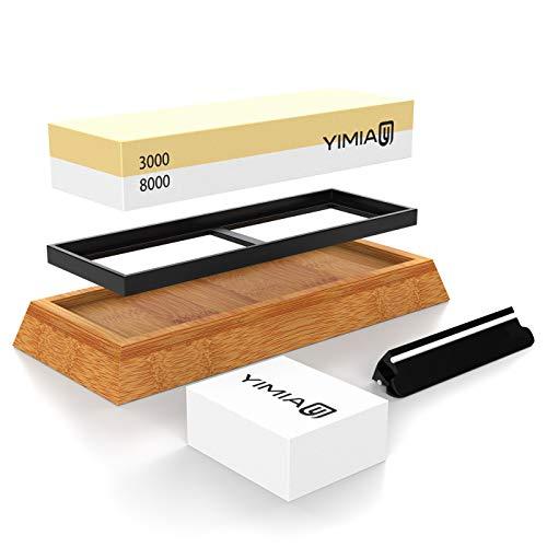 Abziehstein Schleifstein Set, YIMIAY 2-in-1 Wetzstein mit 3000/8000 Körnung, Abziehstein für Messer inkl. Gummi-Steinhalter sowie Bambus Basis und Messer-Halter und Läppstein