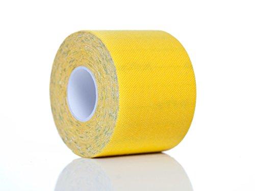 Kinesiologisches Tape Original PREMIUM Medi-Tape Gelb, Sporttape, Physio Tape, Akutape, Medizinisches Tape, Kinesiologie Tape, ISO zertifizierte Markenqualität 5cm Breite x4.5m, elastisches Klebeband