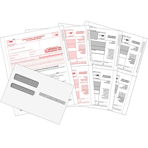 1099 NEC Forms 2020, 1099 NEC Laser Forms IRS Approved Designed for Quickbooks and Accounting Software 2020, 4 Part Tax Forms Kit, 25 Envelopes Self Seal, 25 Vendor Kit - Total 54 (105) Forms