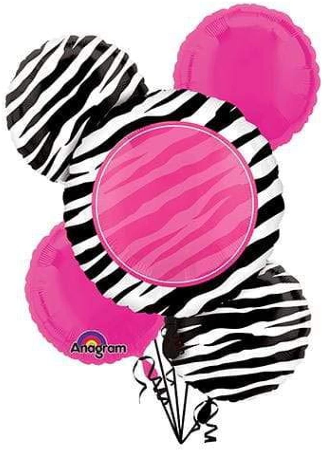 Anagram A1136 2 Zebra Party Balloon Bouquet Multicolord