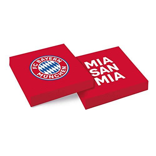 Amscan 9906509 - FC Bayern München Servietten, 20 Stück, Größe 33 x 33 cm, Farbe: Blau, Weiß u. Rot, die Papierservietten sind perfekt für das Fest beim Fanclub oder die Fußball-Mottoparty
